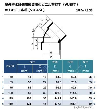 VU 45°エルボ継手[VU-45L]の規格表[外径、内径、長さ]