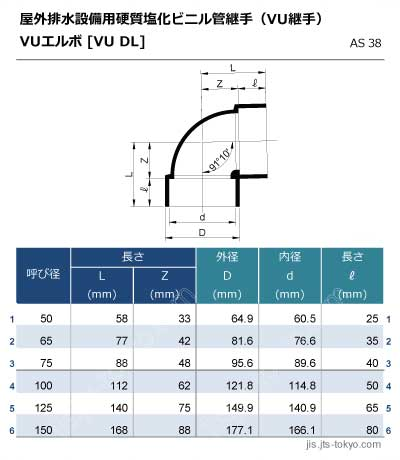 VUエルボ継手[VU-DL]の規格表[外径、内径、長さ]