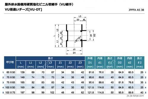 VU径違いチーズ継手[VU-DT]の規格表[外径、内径、長さ]