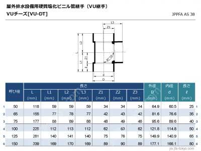VUチーズ継手[VU-DT]の規格表[外径、内径、長さ]